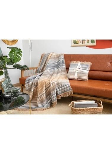 Dolce Bonita Home Pamuklu Tv Battaniye 127X155 Çizgili Antrasit-Beyaz Antrasit